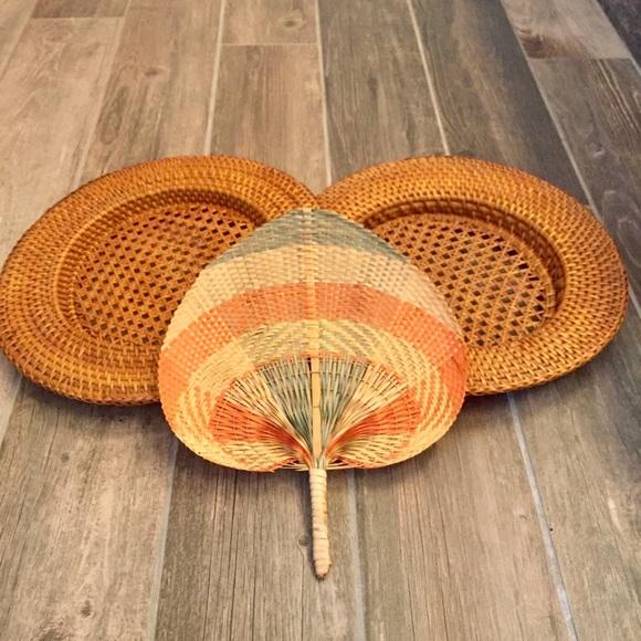 Basket wall bundle VINTAGE woven fan and baskets